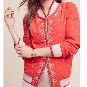 Anthropologie red bomber jacket